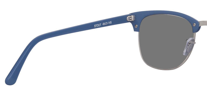 Chrome Blue Square Polarized Sunglasses for Men - Stout - Back Angle