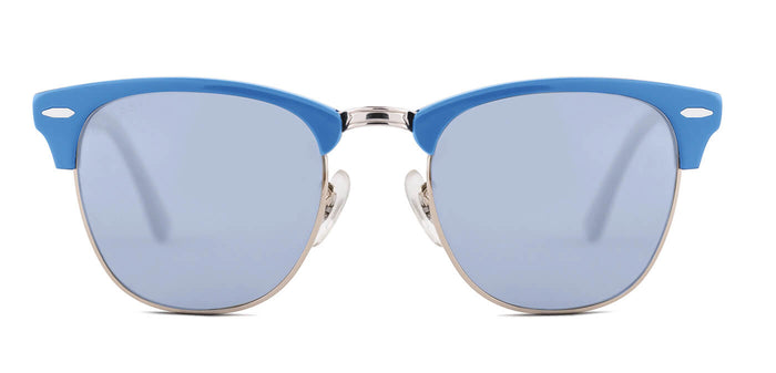 Chrome Blue Square Polarized Sunglasses for Women - Stout- Front - Angle