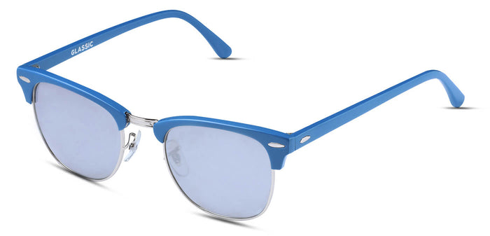 Chrome Blue Square Polarized Sunglasses for Women - Stout- Side Angle