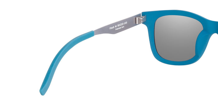 Chrome Blue Square Polarized Sunglasses for Men - Finch - Back Angle