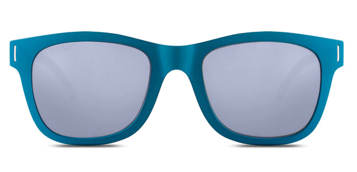 Chrome Blue Square Polarized Sunglasses for Men - Finch - Front Angle