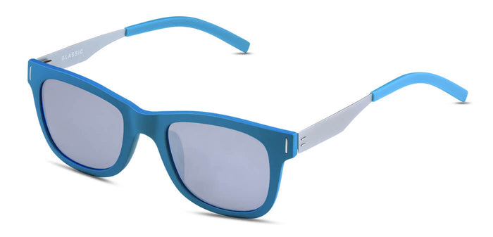 Chrome Blue Square Polarized Sunglasses for Men - Finch - Side Angle
