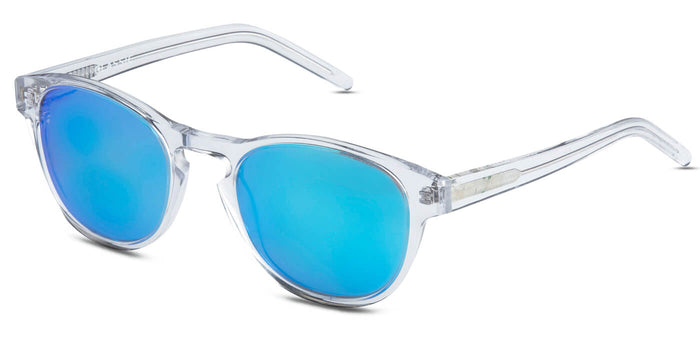 Crystal Blue Round Polarized Sunglasses for Men - Logan - Side Angle