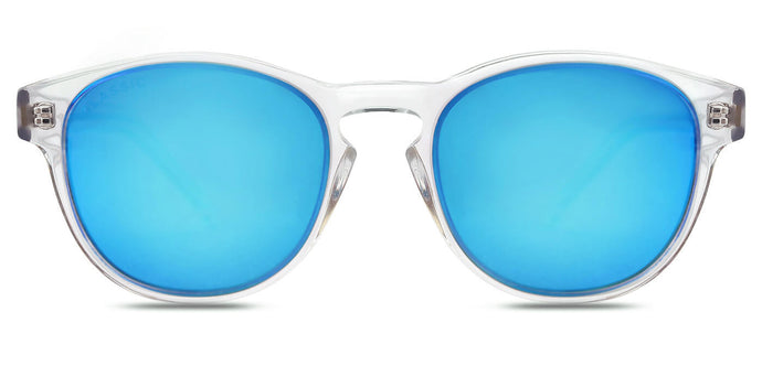 Crystal Blue Round Polarized Sunglasses for Women - Logan - Front Angle