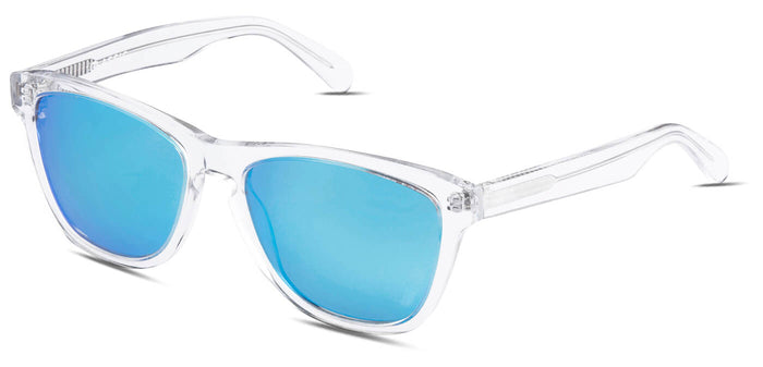 Crystal Blue Square Polarized Sunglasses for Men - Quad - Side Angle