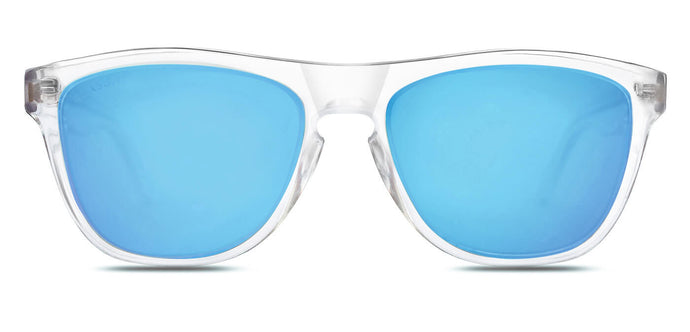 Crystal Blue Square Polarized Sunglasses for Women - Quad - Front Angle
