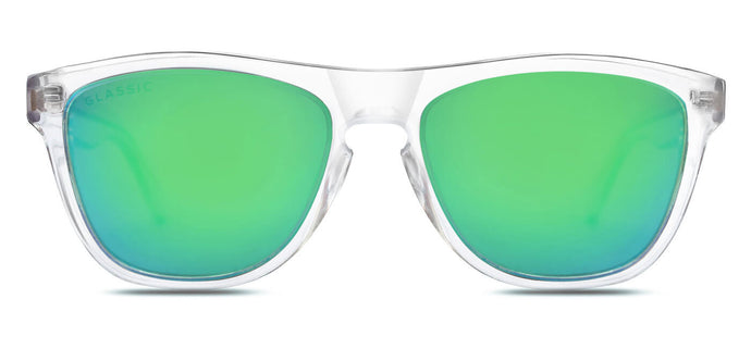 Crystal Green Square Polarized Sunglasses for Men - Quad - Front Angle