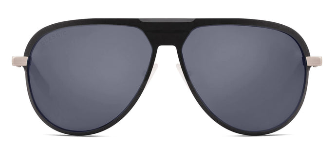 Deep Black Pilot Polarized Sunglasses for Men - Magneto - Front Angle