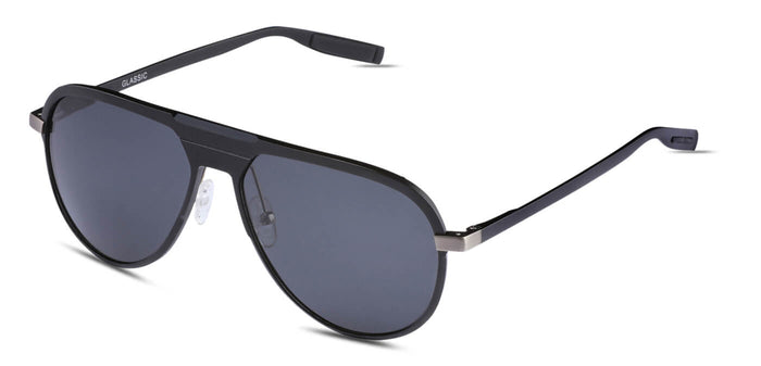 Deep Black Pilot Polarized Sunglasses for Men - Magneto - Side Angle