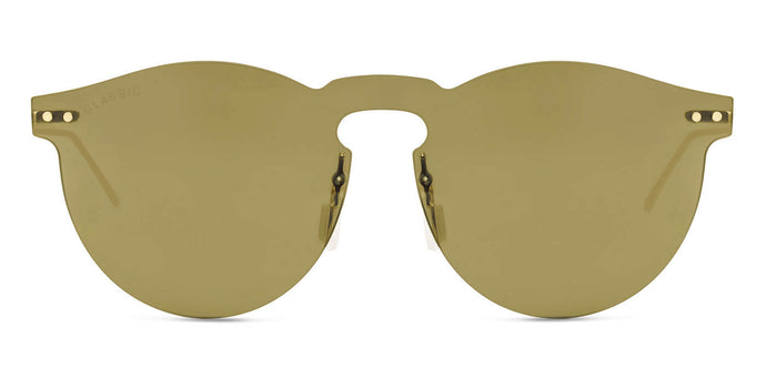 Dusk Gold Round Non Polarized Sunglasses for Men - Alex - Front Angle