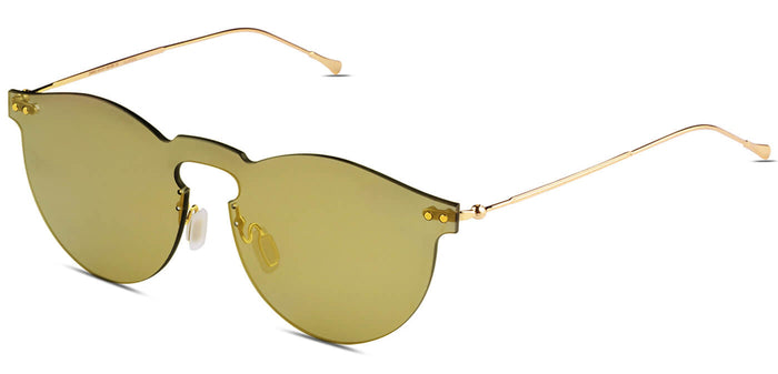 Dusk Gold Round Non Polarized Sunglasses for Women - Alex - Side Angle