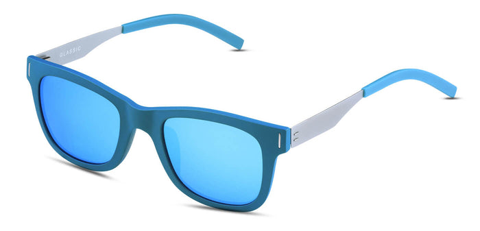 Electric Blue Square Polarized Sunglasses for Women - Finch - Side Angle