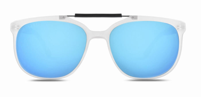 Frosted Ice Blue Square Polarized Sunglasses for Men - Kingpin - Front Angle