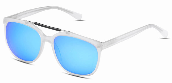 Frosted Ice Blue Square Polarized Sunglasses for Men - Kingpin - Side Angle