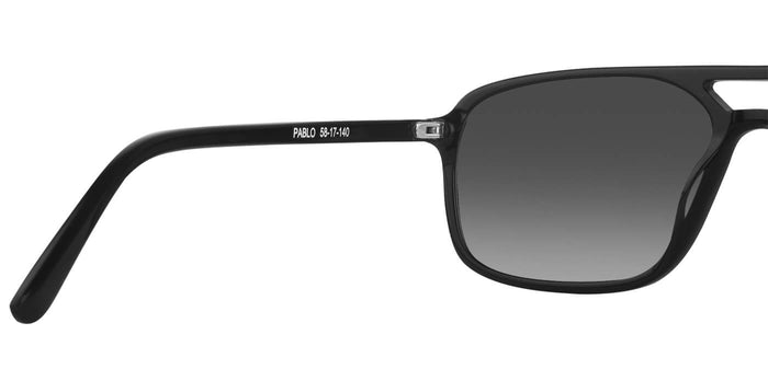 Midnight Black Rectangle Polarized Sunglasses for Men - Pablo - Back Angle