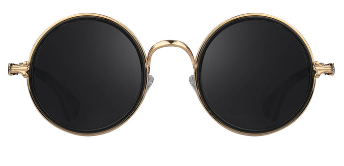 Gold Round Sunglasses for Women Muse Front