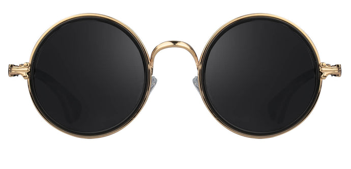 Gold Round Sunglasses for Men Muse Front
