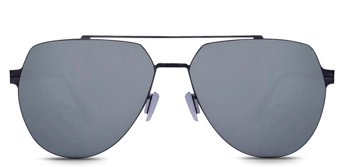 Midnight Black Pilot Polarized Sunglasses for Men - Cockpit - Front Angle