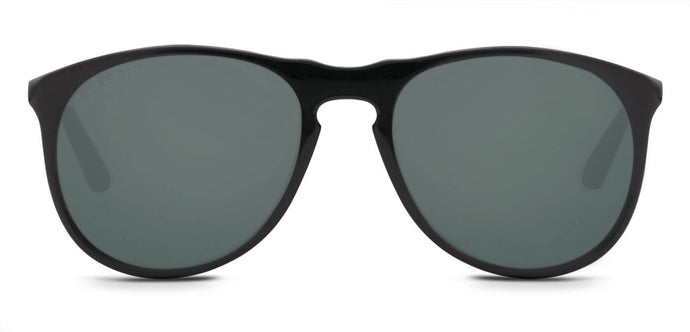Midnight Black Pilot Polarized Sunglasses for Men - Banner - Front Angle