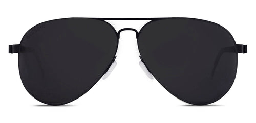Midnight Black Pilot Polarized Sunglasses for Men - Governor - Front Angle
