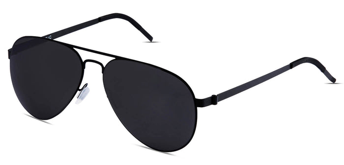 Midnight Black Pilot Polarized Sunglasses for Men - Governor - Side Angle