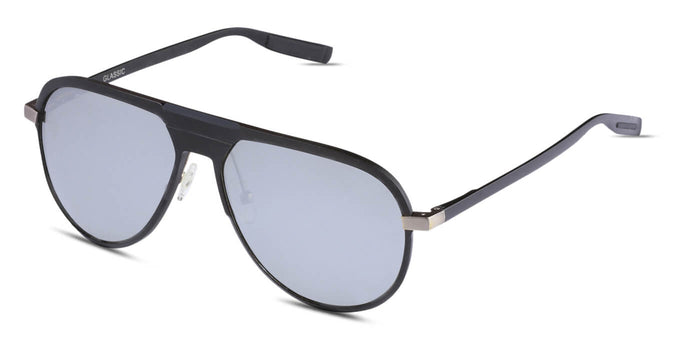 Midnight Black Pilot Polarized Sunglasses for Men - Magneto - Side Angle