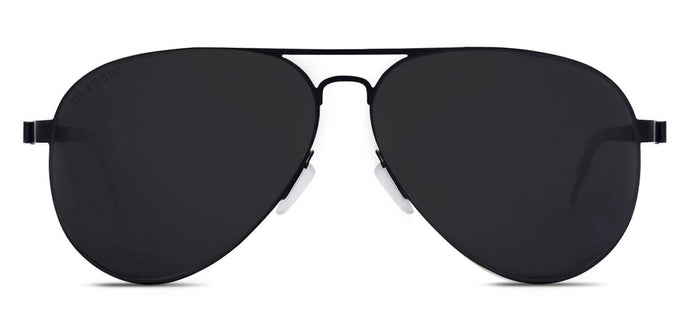 Midnight Black Pilot Polarized Sunglasses for Women - Governor - Front Angle