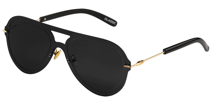 Midnight Black Pilot Sunglasses for Men Andy Side