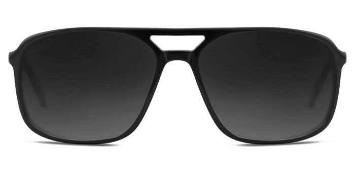 Midnight Black Rectangle Polarized Sunglasses for Men - Pablo - Front Angle
