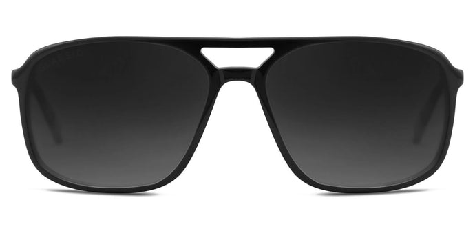 Midnight Black Rectangle Polarized Sunglasses for Women - Pablo - Front Angle
