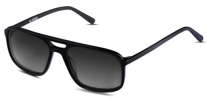 Midnight Black Rectangle Polarized Sunglasses for Women - Pablo - Side Angle