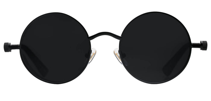 Midnight Black Round Non Polarized Sunglasses For Women Riot Front
