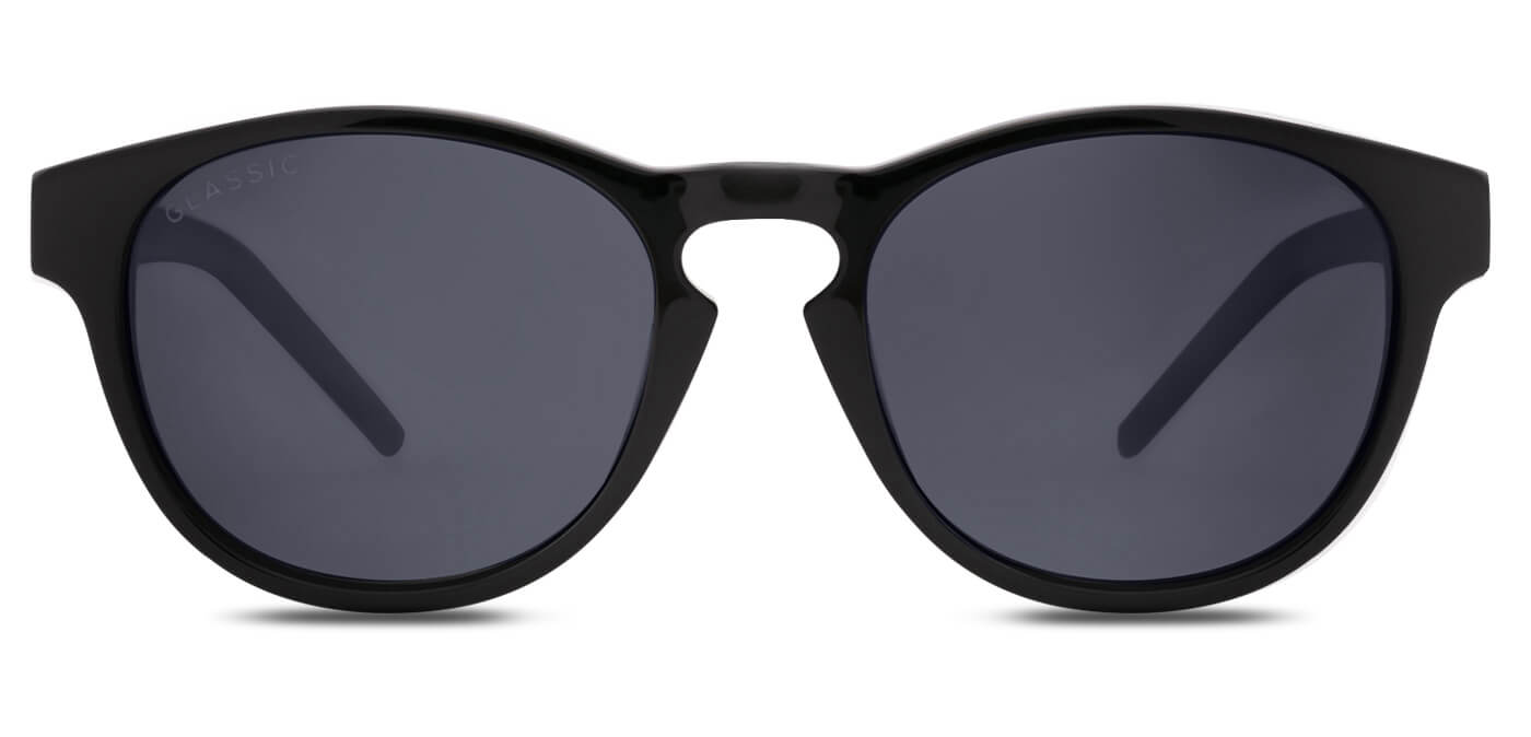 Midnight Black Round Polarized Sunglasses for Men - Logan - Front Angle