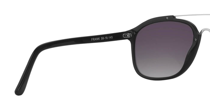 Midnight Black Square Polarized Sunglasses for Men - Frank - Back Angle