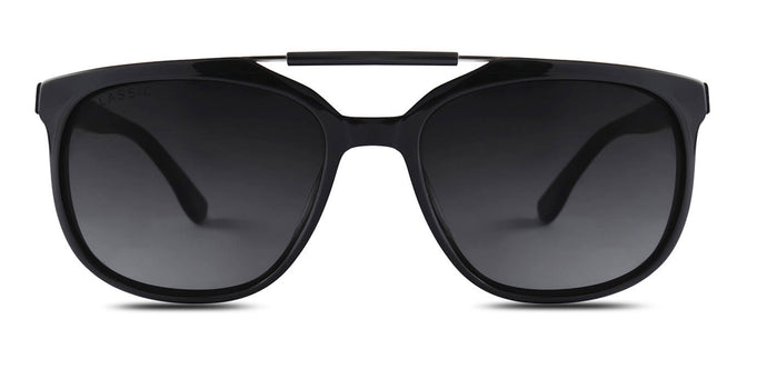 Midnight Black Square Polarized Sunglasses for Men - Kingpin - Front Angle