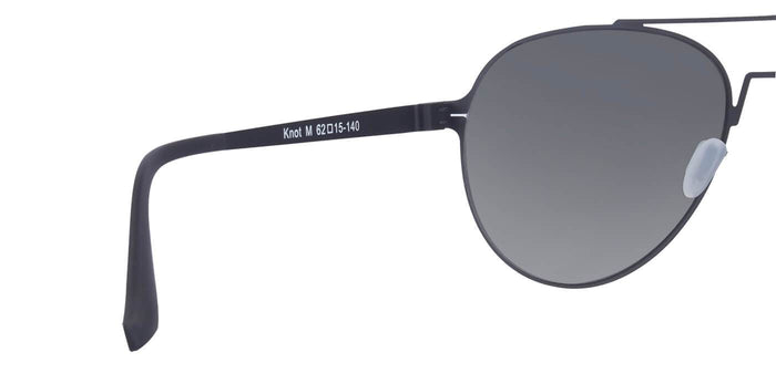 Midnight Black Pilot Polarized Sunglasses for Men - Knot - Back Angle