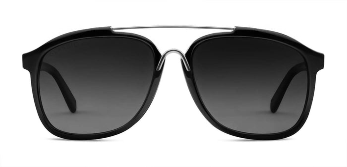 Midnight Black Square Polarized Sunglasses for Women - Frank - Front Angle