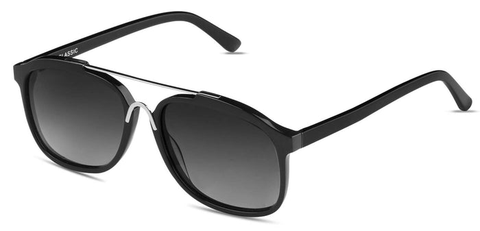 Midnight Black Square Polarized Sunglasses for Women - Frank - Side Angle