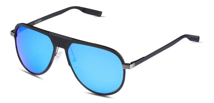 Pop Blue Pilot Polarized Sunglasses for Men - Magneto - Side Angle