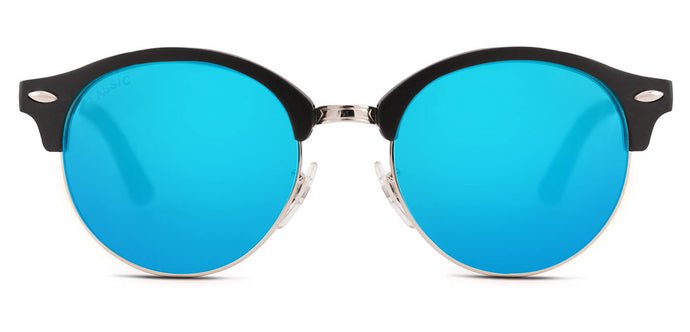 Pop Blue Round Polarized Sunglasses for Women - Harper - Front Angle