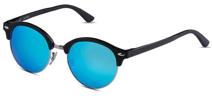 Pop Blue Round Polarized Sunglasses for Women - Harper - Side Angle