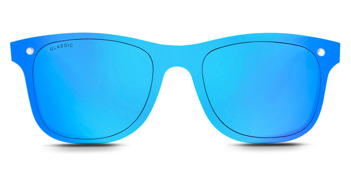 Pop Blue Square Non Polarized Sunglasses for Women - Tony - Front - Angle