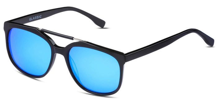 Pop Blue Square Polarized Sunglasses for Men - Kingpin - Side Angle
