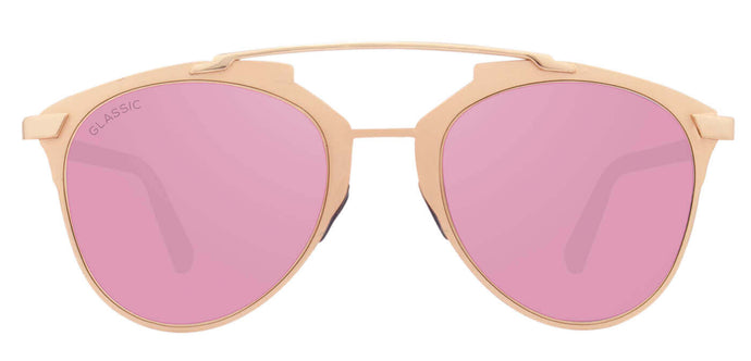 Rose Gold Cat Eye Non Polarised Sunglasses for Women Naomi Front