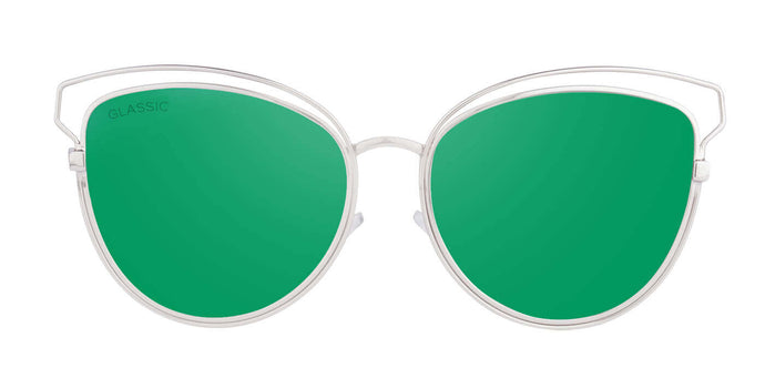Sea Green Cat Eye Non Polarised Sunglasses for Women Kim Front