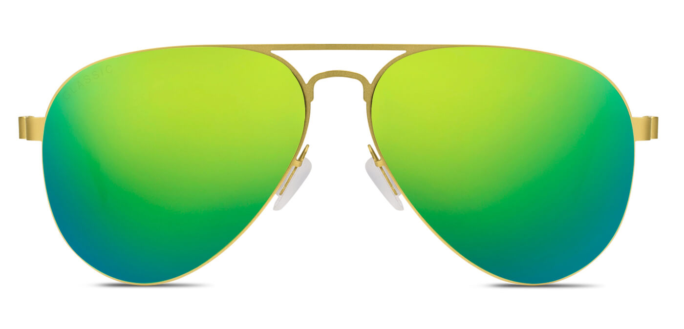 Sea Green Pilot Polarized Sunglasses for Men - Governor - Front Angle