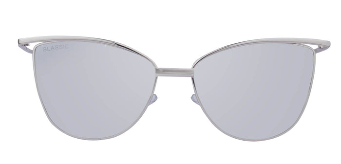 Shiny Silver Cat Eye Non Polarised Sunglasses for Women Chelsea Front