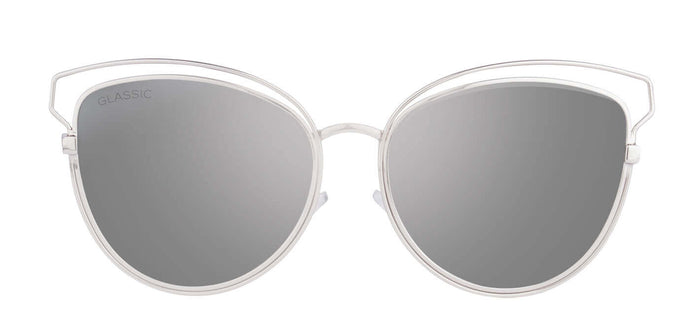 Shiny Silver Cat Eye Non Polarised Sunglasses for Women Kim Front