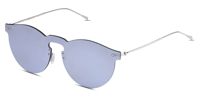 Silver Pearl Round Non Polarized Sunglasses for Men - Alex - Side Angle