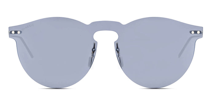 Silver Pearl Round Non Polarized Sunglasses for Women - Alex - Front Angle